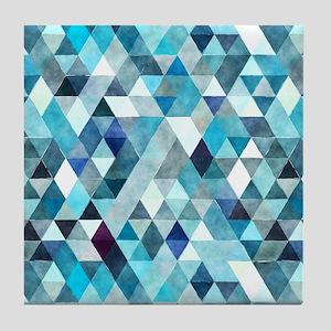 Watercolor Triangles Blue Tile Coaster