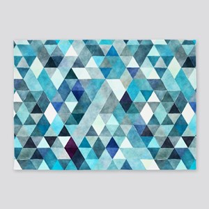 Watercolor Triangles Blue 5'x7'Area Rug