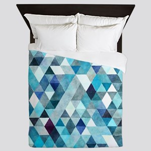 Watercolor Triangles Blue Queen Duvet