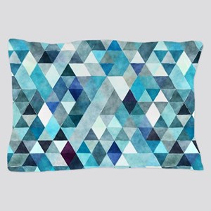 Watercolor Triangles Blue Pillow Case