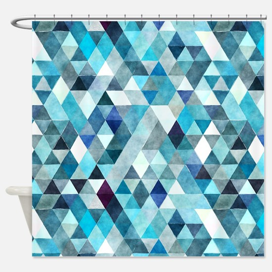 Watercolor Triangles Blue Shower Curtain