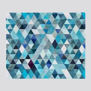Watercolor Triangles Blue Throw Blanket