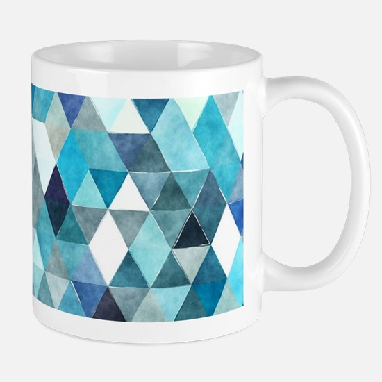 Watercolor Triangles Blue Mug