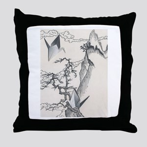 Origami Crane Landscape Throw Pillow