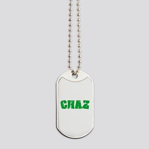 Chaz Name Weathered Green Design Dog Tags