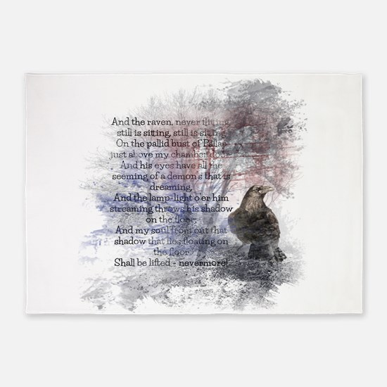 Edgar Allan Poe The Raven Poem 5'x7'Area Rug