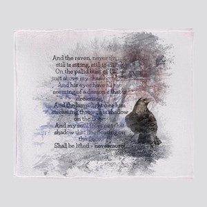 Edgar Allan Poe The Raven Poem Throw Blanket