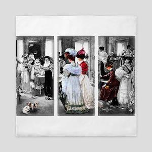 vintage victorian ladies Queen Duvet