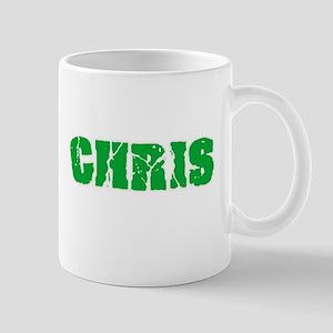 Chris Name Weathered Green Design Mugs
