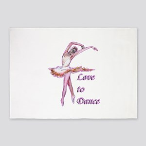 love to dance ballerina art 5'x7'Area Rug