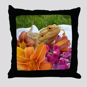 Floral beardie Throw Pillow