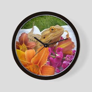 Floral beardie Wall Clock