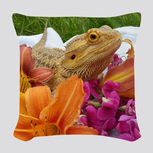 Floral beardie Woven Throw Pillow