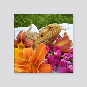 "Floral beardie Square Sticker 3"" x 3"""