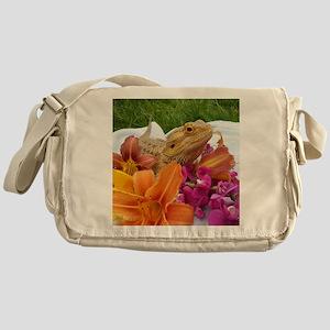 Floral beardie Messenger Bag