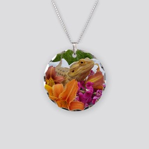 Floral beardie Necklace Circle Charm