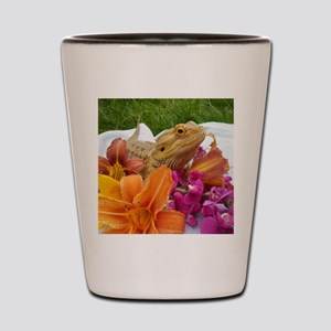 Floral beardie Shot Glass