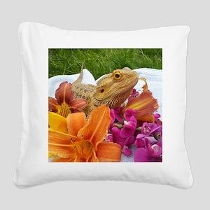 Floral beardie Square Canvas Pillow