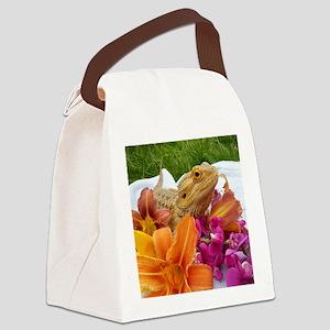 Floral beardie Canvas Lunch Bag