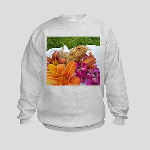Floral beardie Kids Sweatshirt