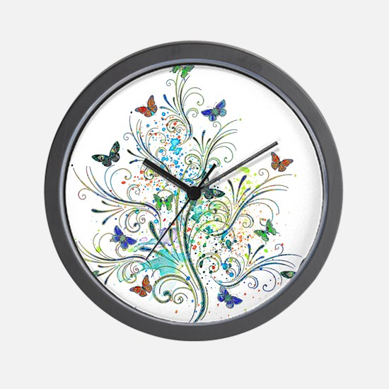 Flourishes and butterflies Wall Clock