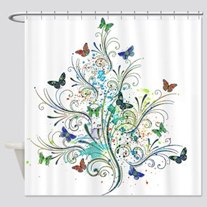 Flourishes and butterflies Shower Curtain