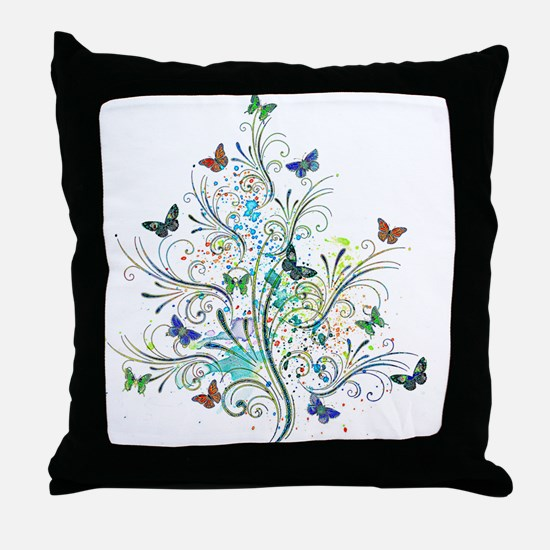 Flourishes and butterflies Throw Pillow