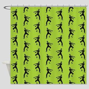 Green Zombie Pattern Shower Curtain