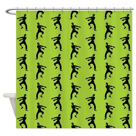 Green Zombie Pattern Shower Curtain By Opheliasart