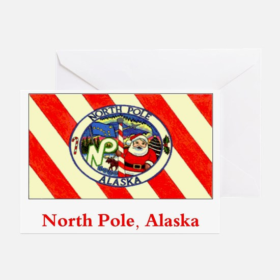 North Pole AK Flag Greeting Cards (Pk of 10)