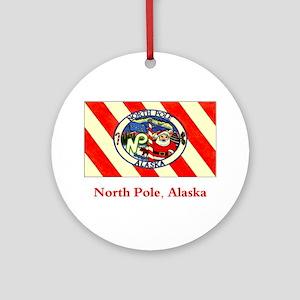 North Pole AK Flag Ornament (Round)