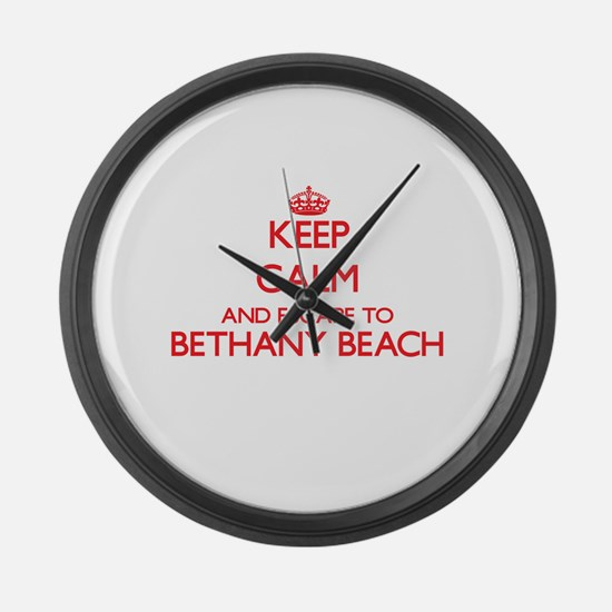 Keep calm and escape to Bethany B Large Wall Clock