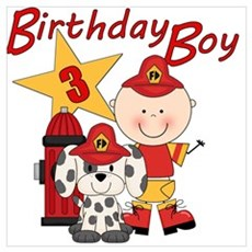 Birthday Boy Fireman Poster