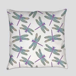 Watercolor Dragonfly Pattern Everyday Pillow