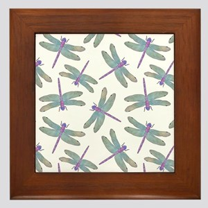 Watercolor Dragonfly Pattern Framed Tile
