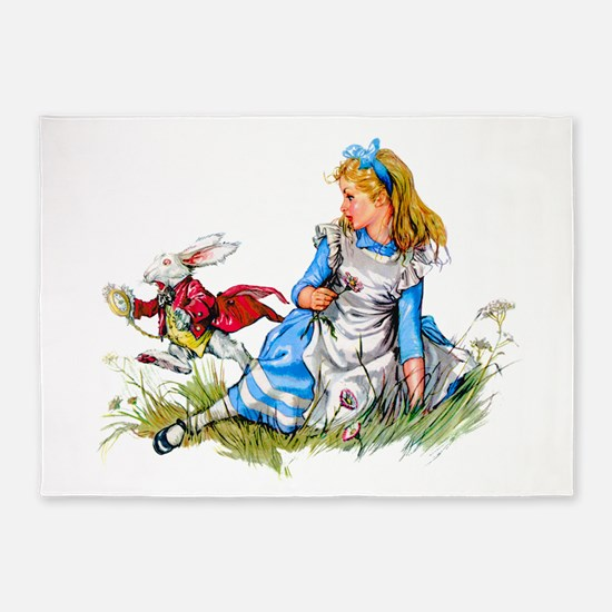 Alice and the White Rabbit 5'x7'Area Rug