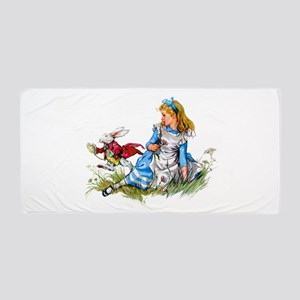 Alice and the White Rabbit Beach Towel