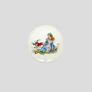 Alice and the White Rabbit Mini Button