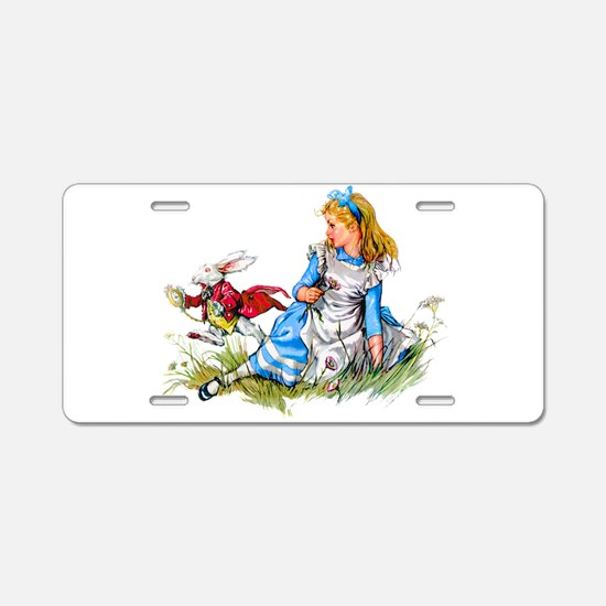 Alice and the White Rabbit Aluminum License Plate