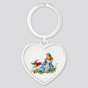Alice and the White Rabbit Heart Keychain