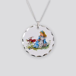 Alice and the White Rabbit Necklace Circle Charm