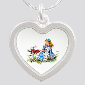 Alice and the White Rabbit Silver Heart Necklace
