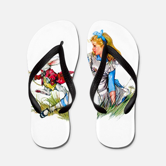 Alice and the White Rabbit Flip Flops