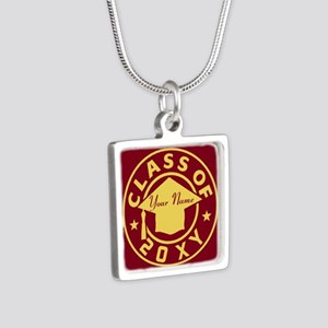 Class of 20XX Graduation Silver Square Necklace