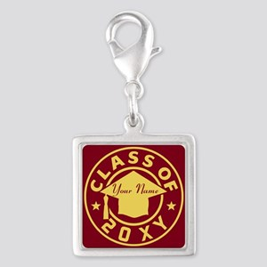 Class of 20XX Graduation Silver Square Charm