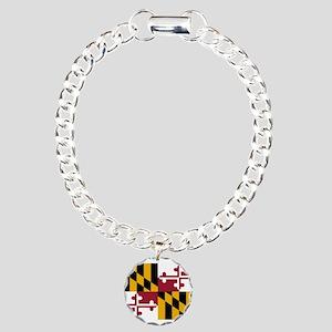 Maryland State Flag Charm Bracelet, One Charm