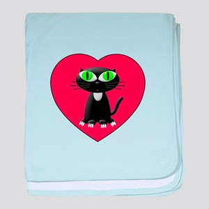 Black Cat In Red Heart baby blanket