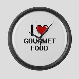 I love Gourmet Food Large Wall Clock