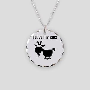 Love Goat Kids Necklace Circle Charm