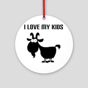 Love Goat Kids Round Ornament